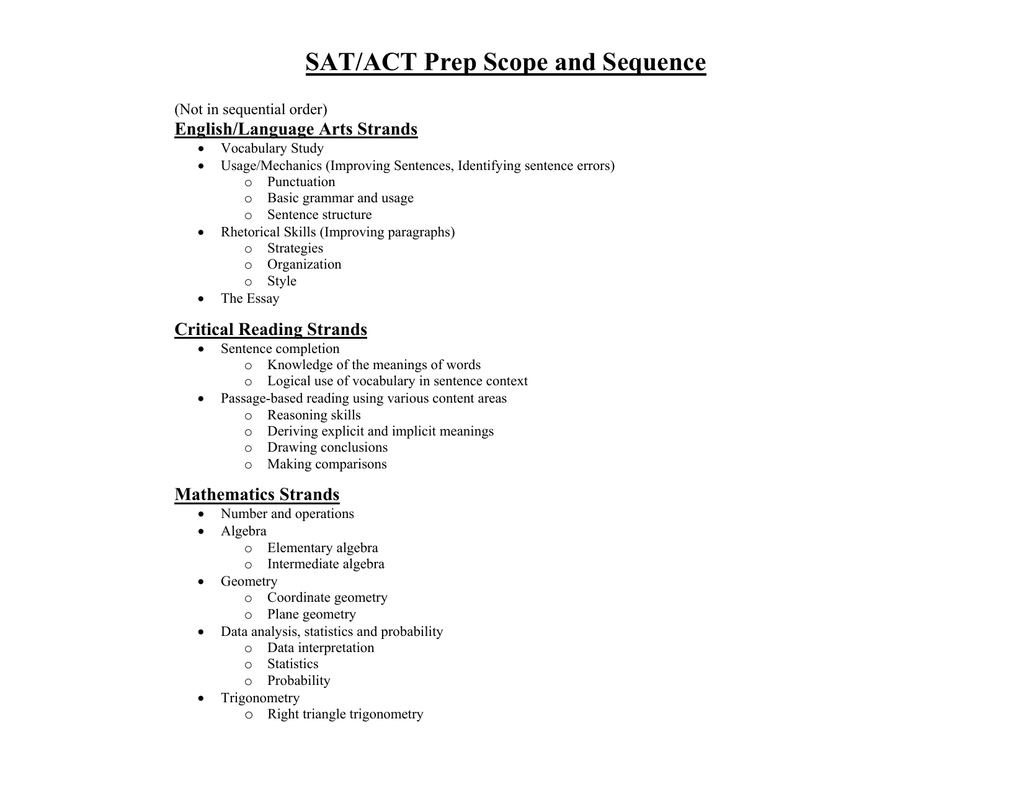 SAT/ACT Prep Scope and Sequence English/Language Arts