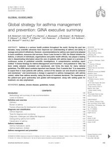 Global strategy for asthma management and prevention: GINA executive summary GLOBAL GUIDELINES