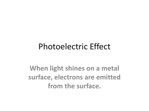 Photoelectric Effect When light shines on a metal surface, electrons are emitted