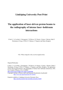 Linköping University Post Print The application of laser-driven proton beams to