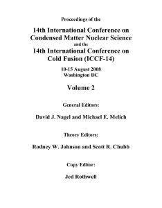 14th International Conference on Condensed Matter Nuclear Science Cold Fusion (ICCF-14)