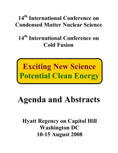 14 International Conference on Condensed Matter Nuclear Science Cold Fusion