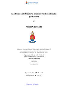 Electrical and structural characterization of metal germanides  Albert Chawanda