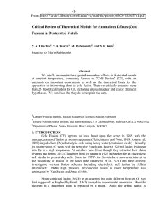 Critical Review of Theoretical Models for Anomalous Effects (Cold