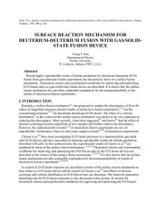 SURFACE REACTION MECHANISM FOR DEUTERIUM-DEUTERIUM FUSION WITH GAS/SOLID- STATE FUSION DEVICE Abstract