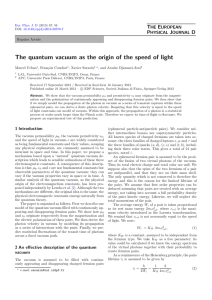 The quantum vacuum as the origin of the speed of... T E P