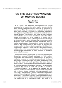 ON THE ELECTRODYNAMICS OF MOVING BODIES By A. Einstein June 30, 1905