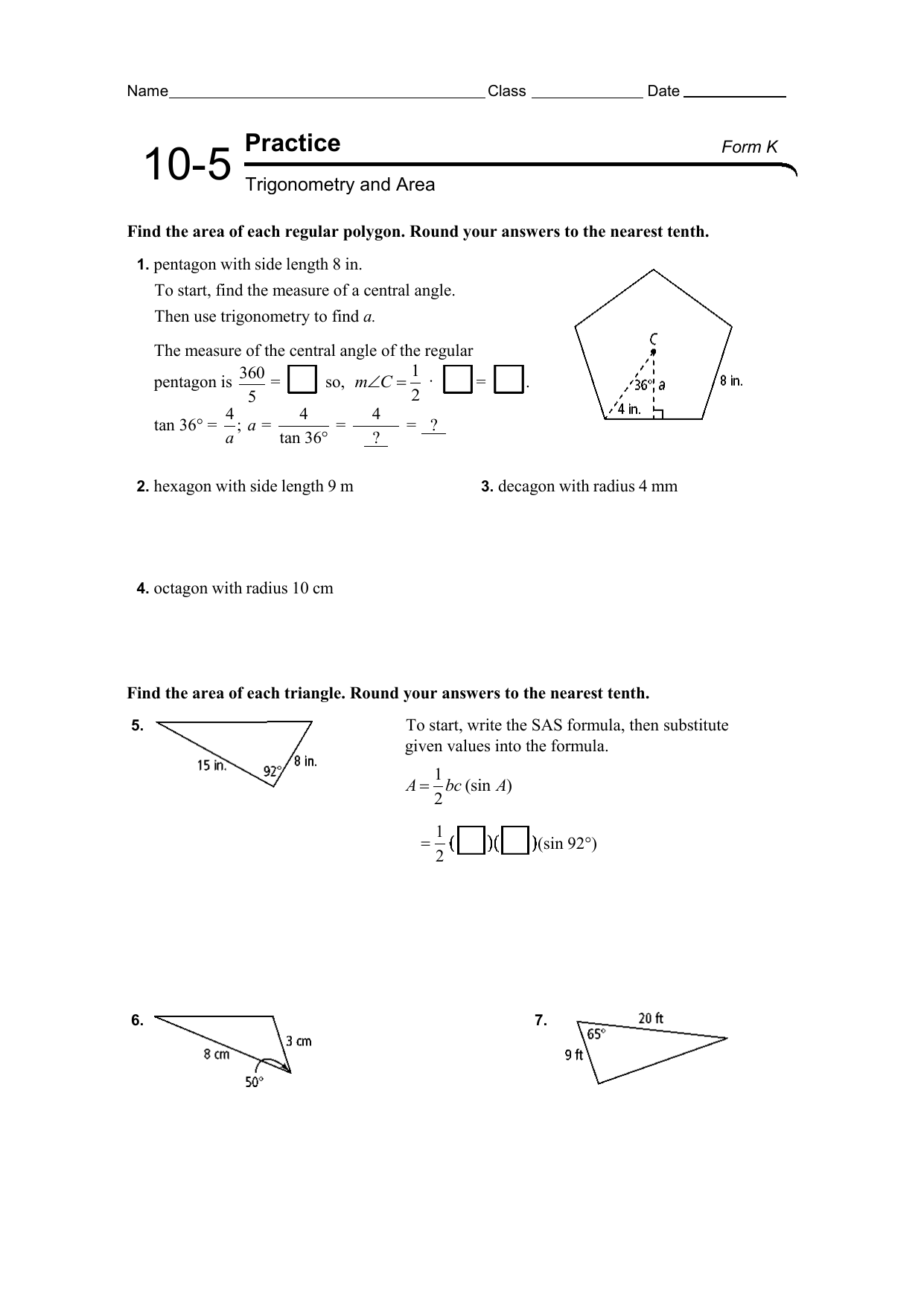10-5 practice worksheet