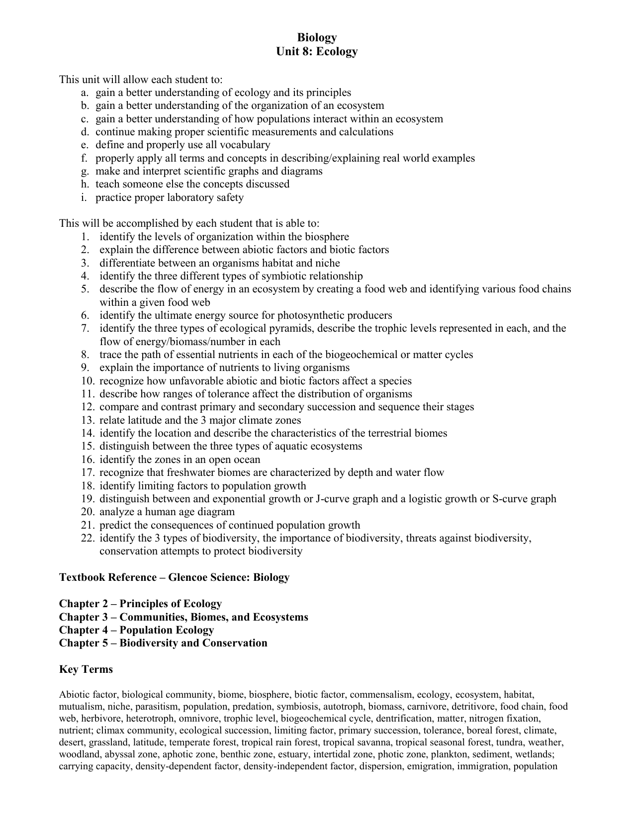 Chapter 3 Communities Biomes And Ecosystems Worksheet ...
