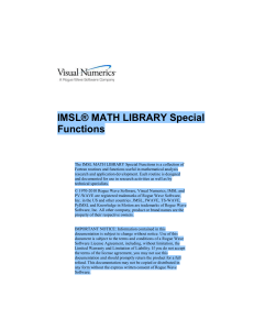 IMSL® MATH LIBRARY Special Functions