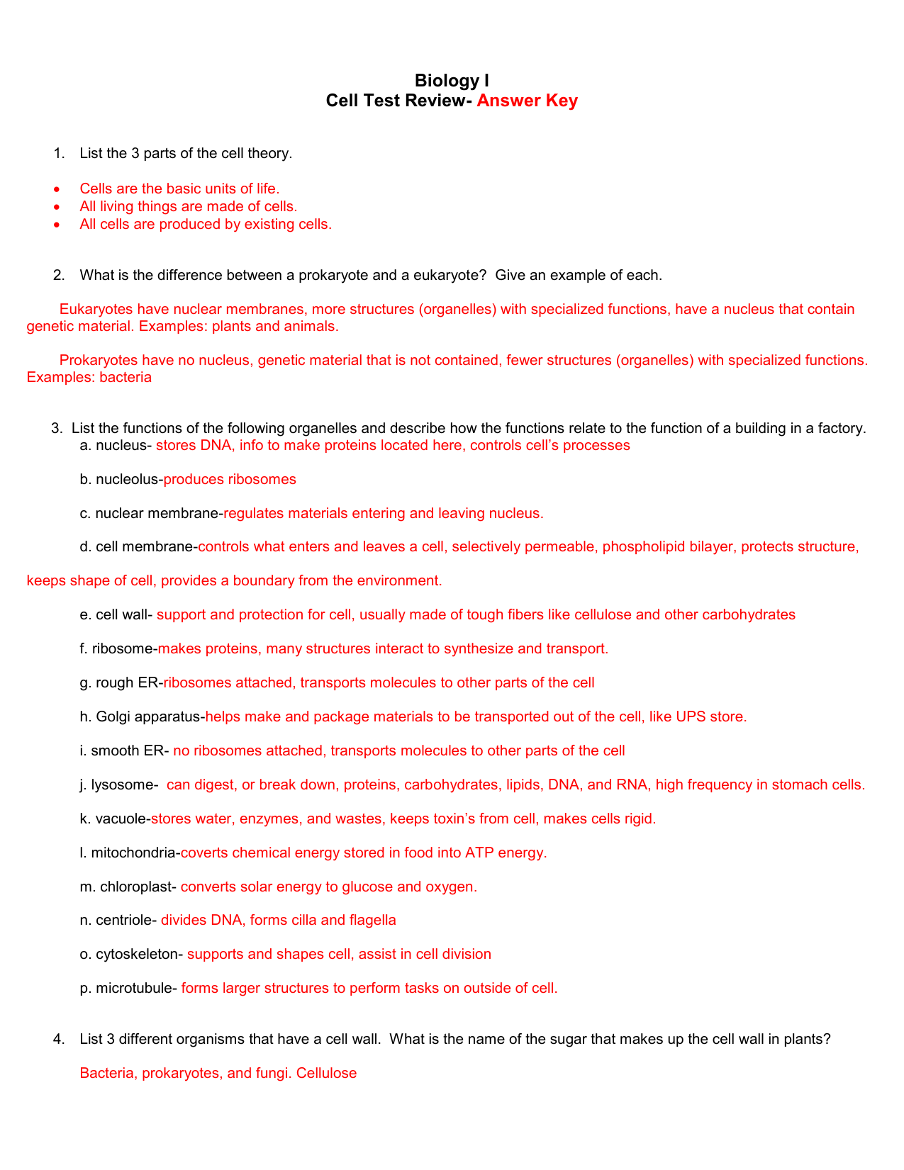 Biology I Cell Test Review- Answer Key List the 3 parts of ...