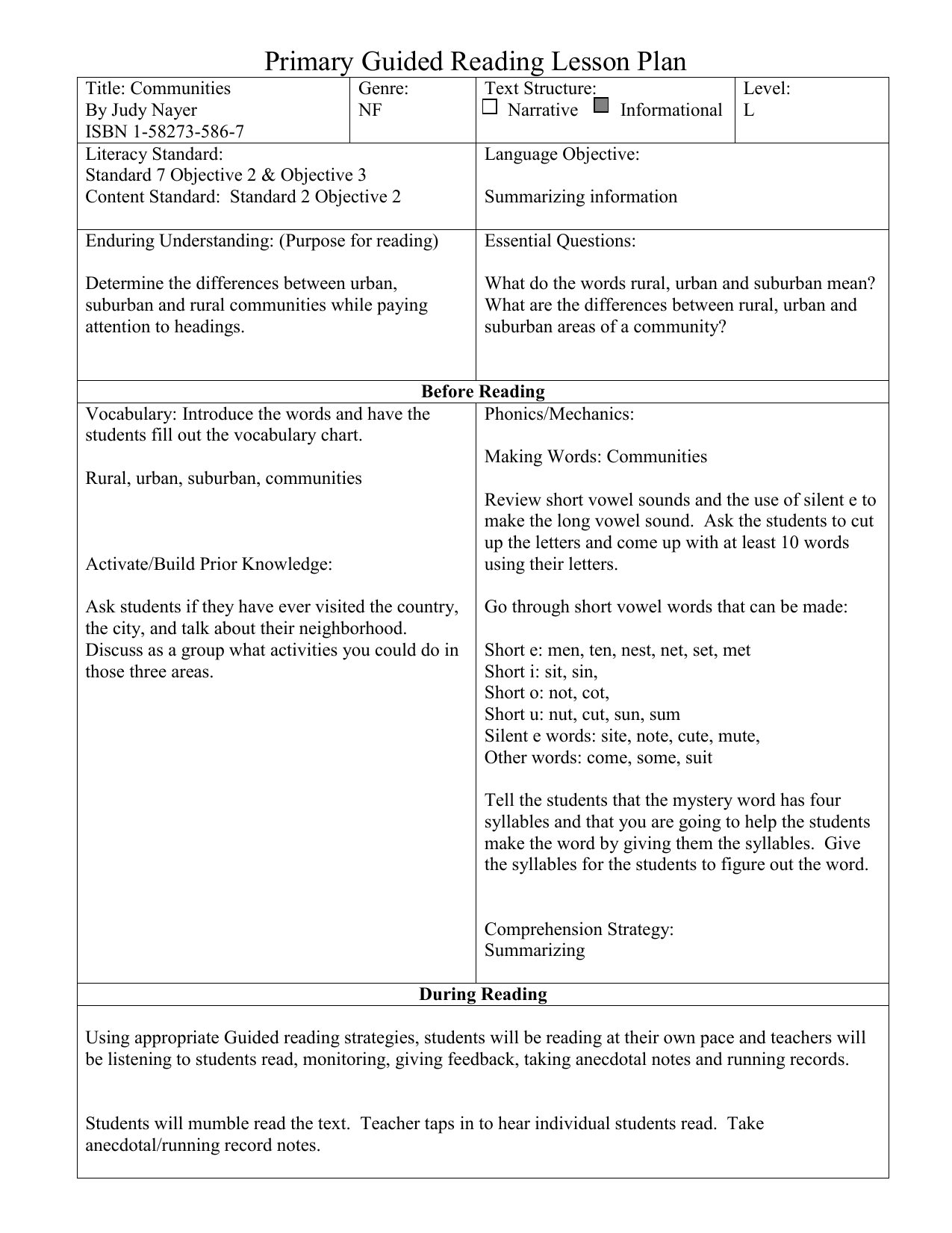 Primary Guided Reading Lesson Plan