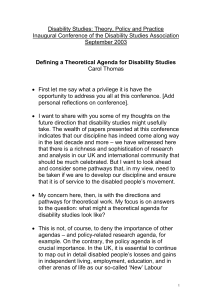 Disability Studies: Theory, Policy and Practice