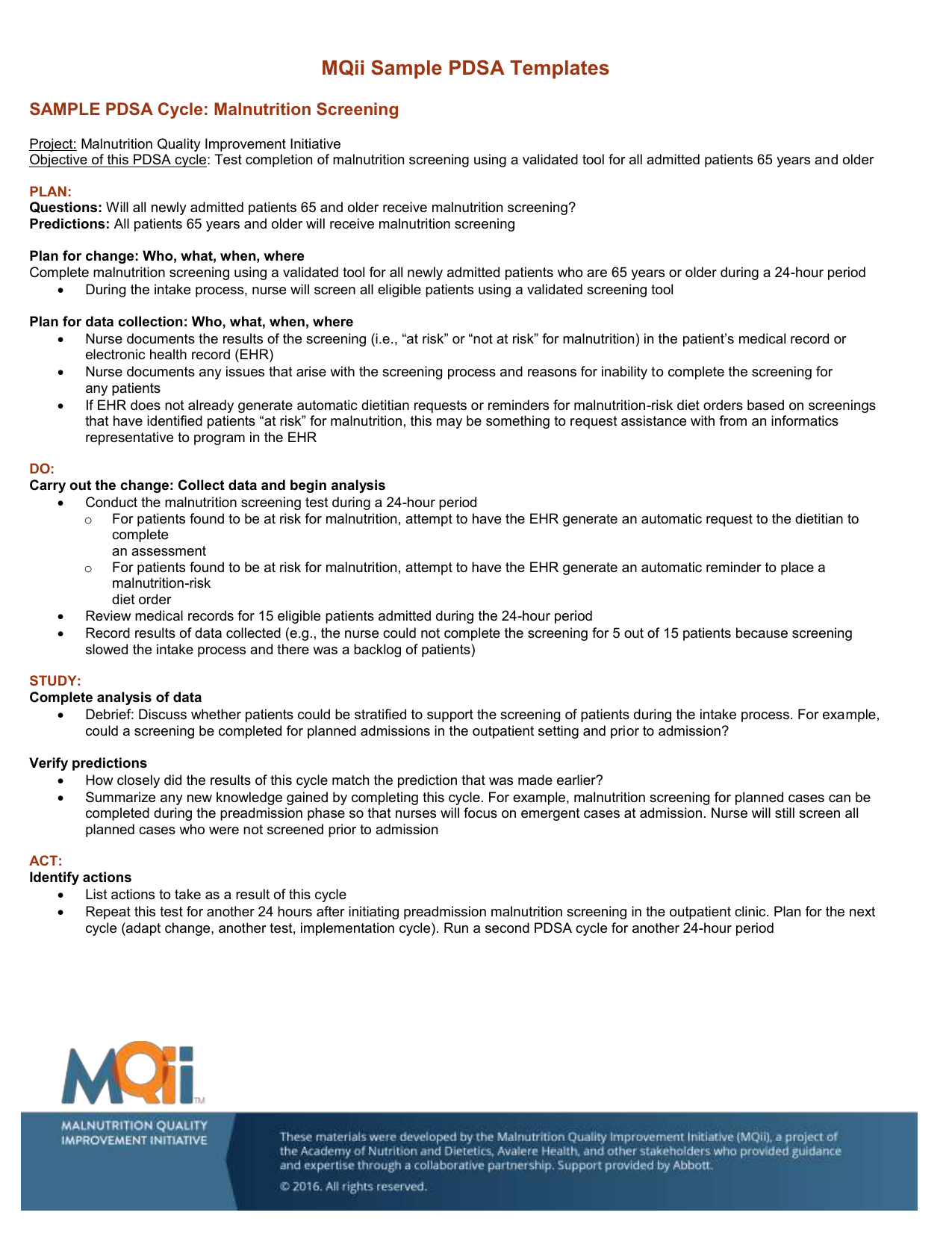 MQii Sample Plan-Do-Study-Act
