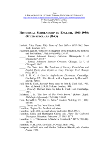 Historical Scholarship in English, 1900