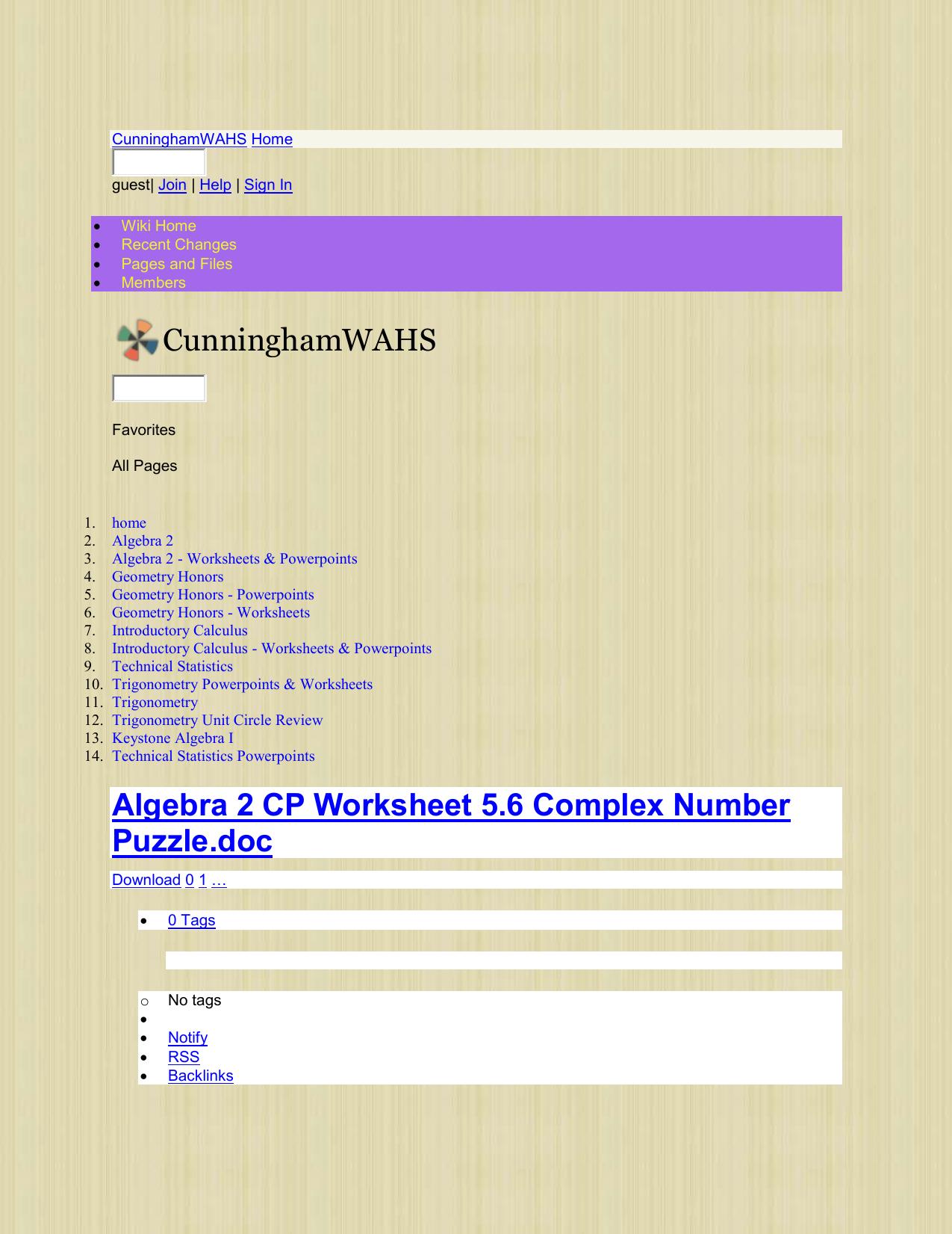 Algebra 2 CP Worksheet 5.6 Complex Number Puzzle