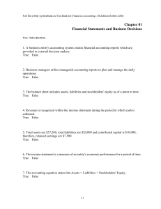 Chapter 01 Financial Statements and Business Decisions