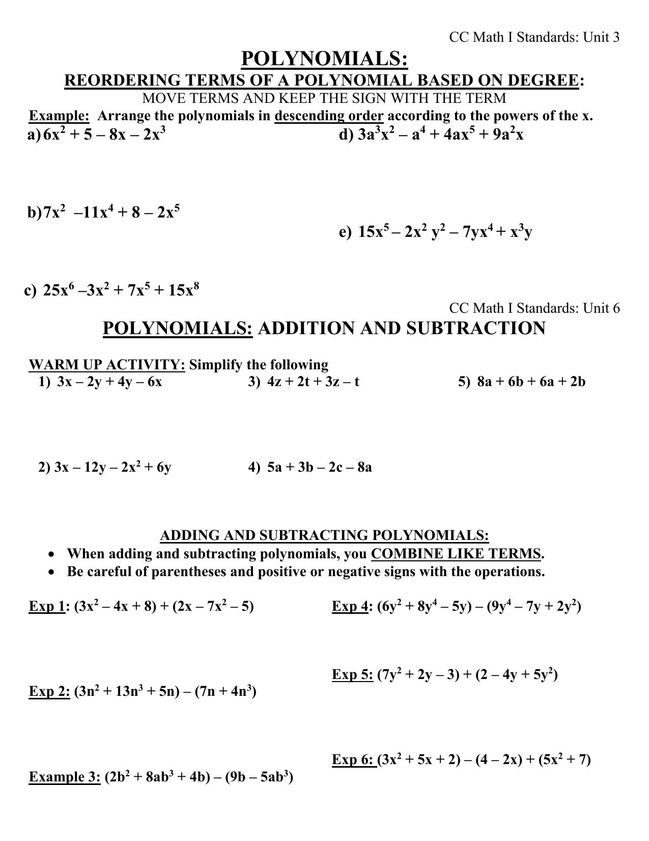 Polynomials Handout Week of Nov 12