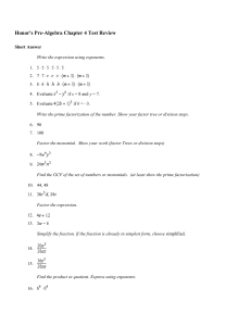Honor`s Pre-Algebra Chapter 4 Test Review Short Answer Write the