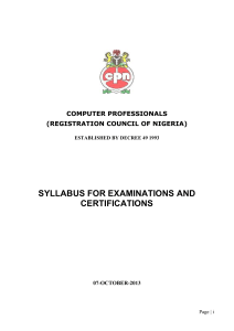 Syllabus - Computer Professional Examinations