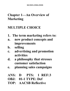 Chapter 1—An Overview of Marketing