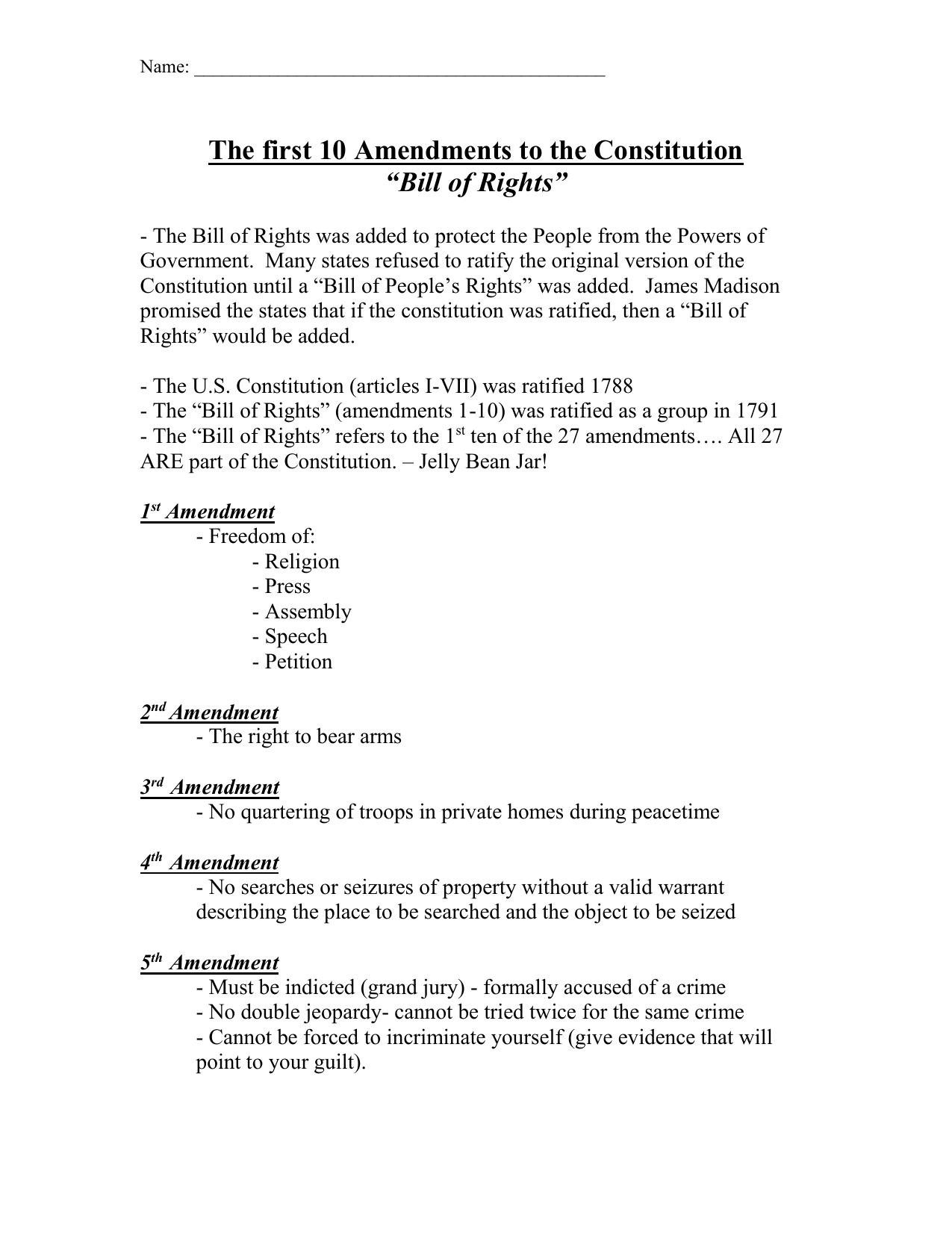 ️ What are the 1st 10 amendments. First Ten Amendments ...