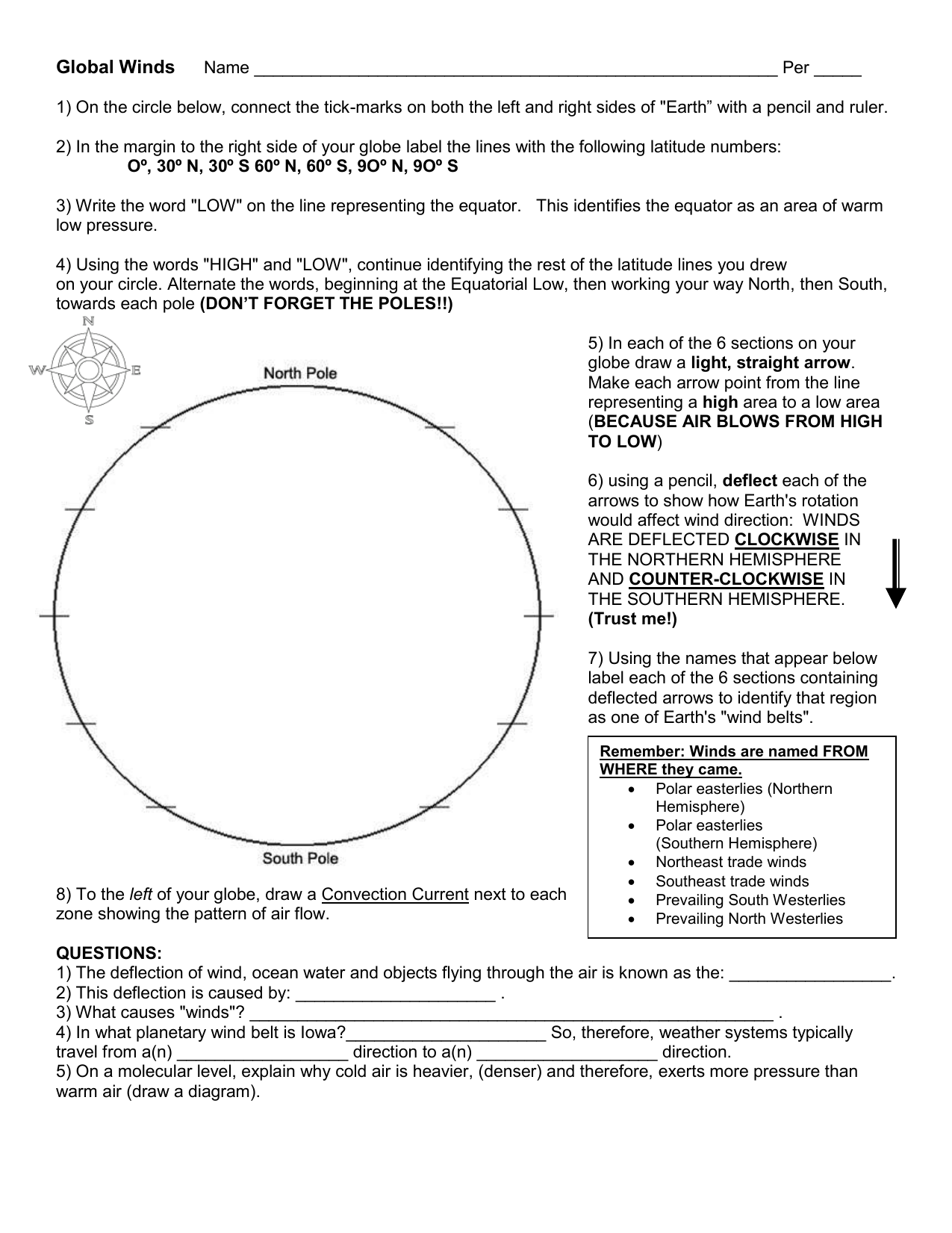 worksheet Global Wind Patterns Worksheet purpose to draw earths planetary wind belts by carefully following
