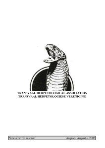 September 2005 Newsletter - Transvaal Herpetological Association