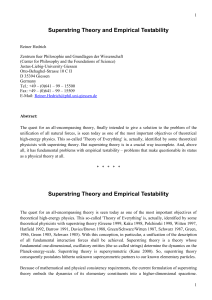 Superstring Theory and Empirical Testability - Philsci