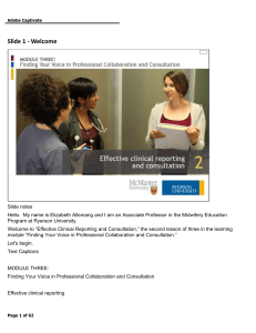 Effective Clinical Reporting and Consultation