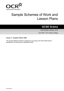 From page to stage - Sample scheme of work and lesson