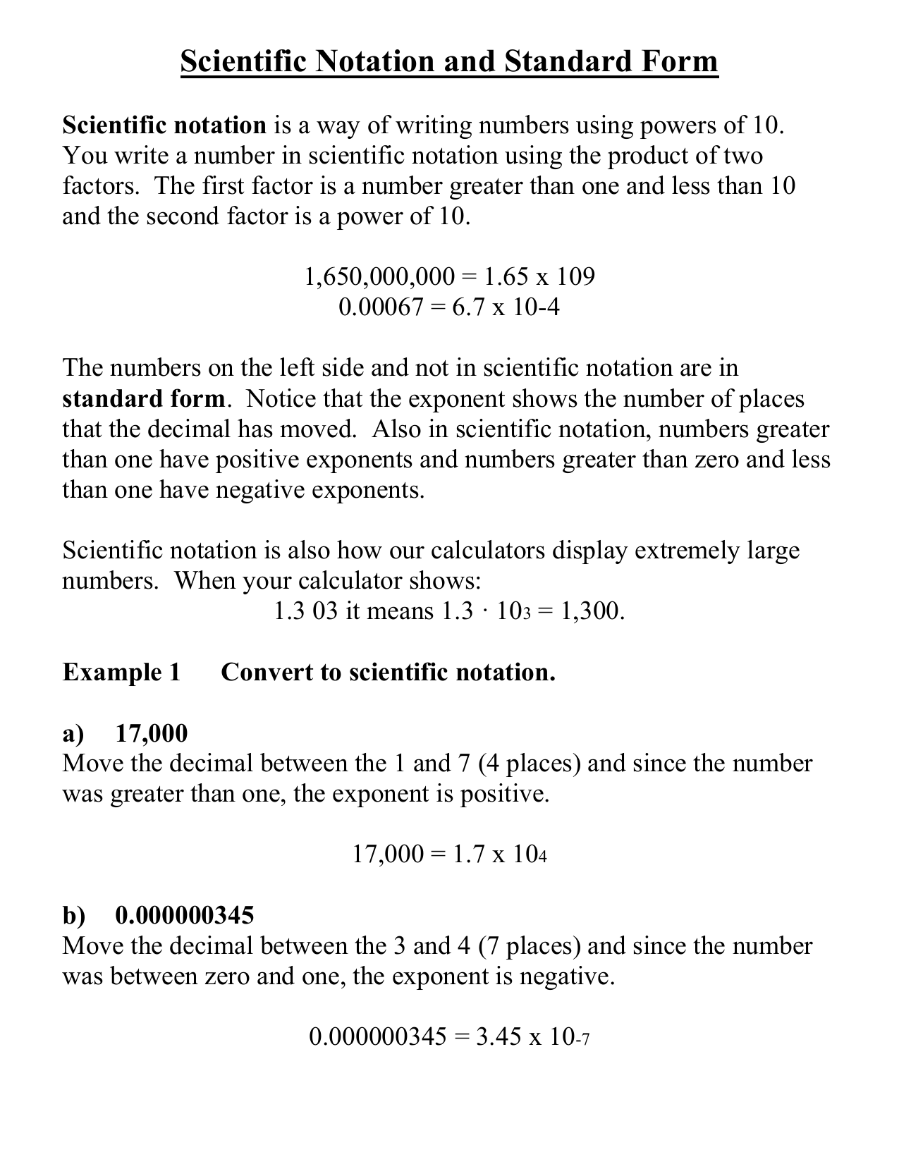standard form negative exponents  Scientific Notation and Standard Form