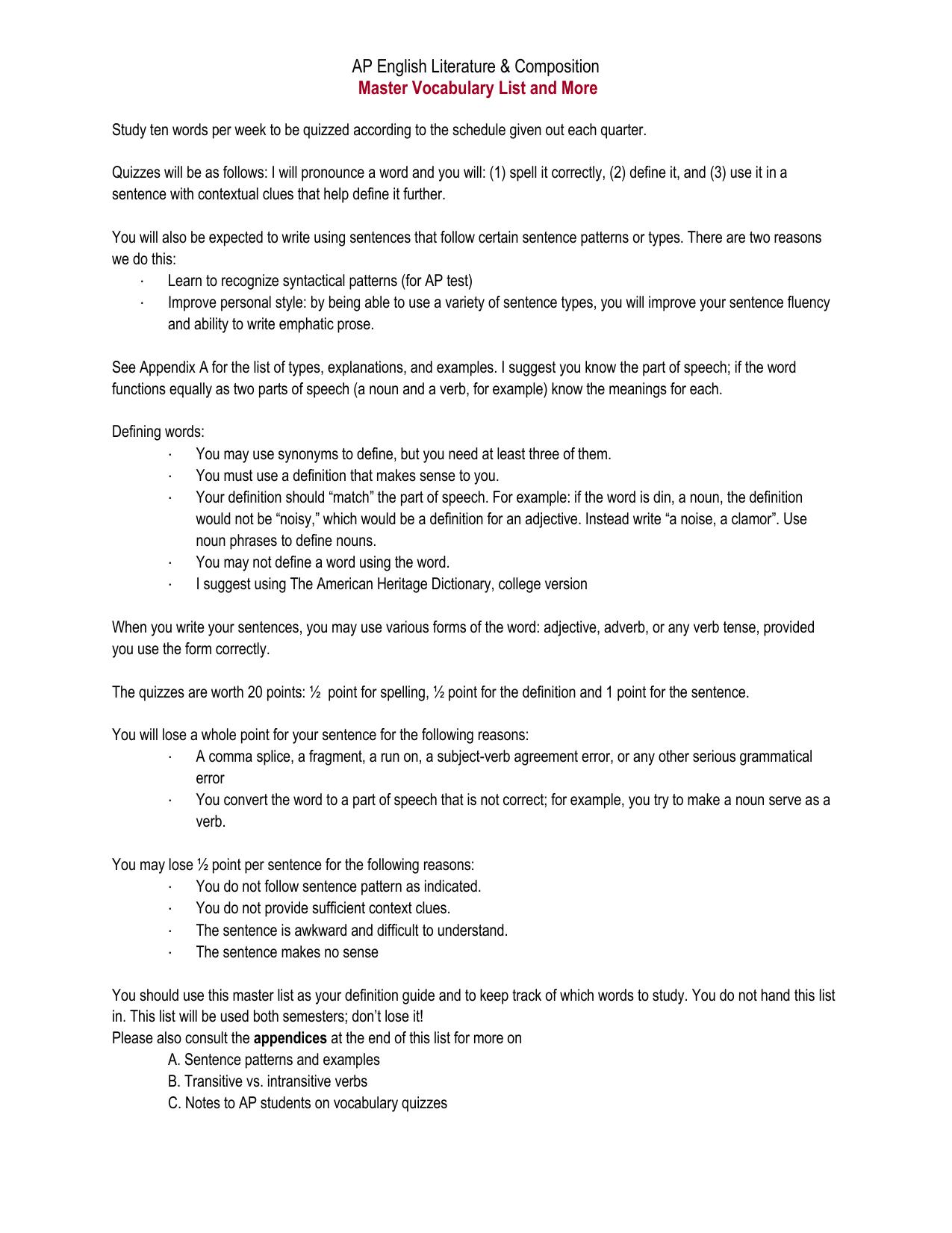 Vocabulary Packet (2016-2017)