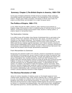 APUSH TKarnes Summary: Chapter 3,The British Empire in America