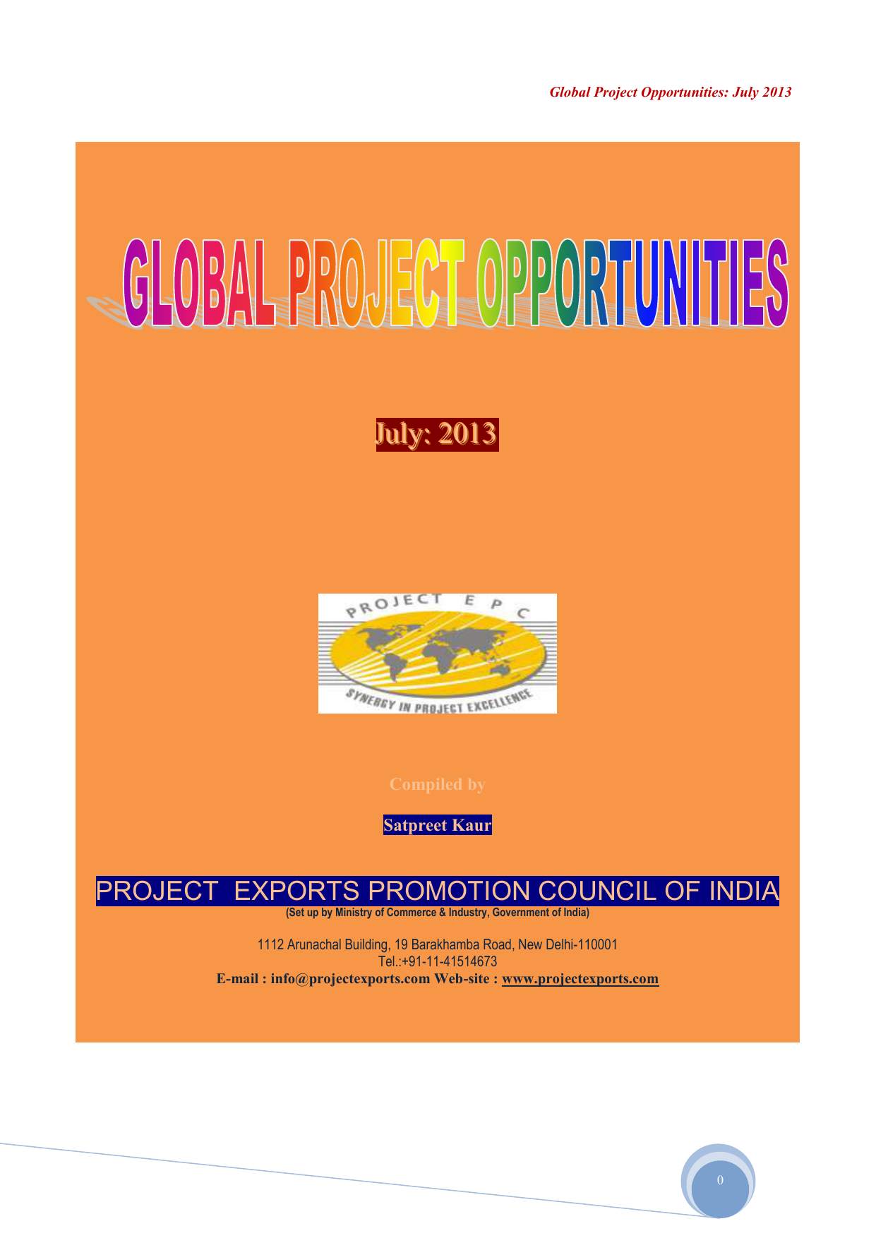 GPO 07- 2013 - Project Exports Promotion Council of India