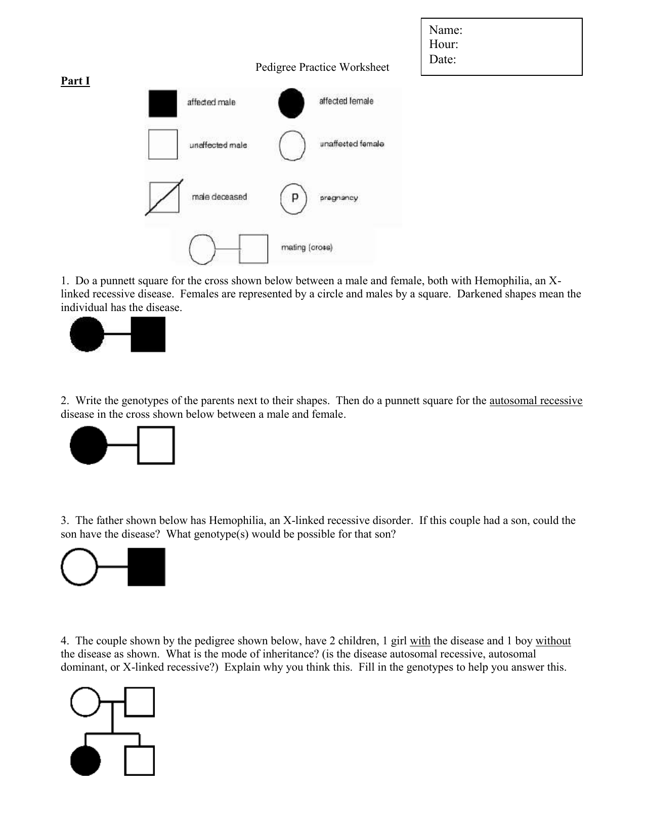 Pedigrees Practice Worksheet Answers - Worksheet List