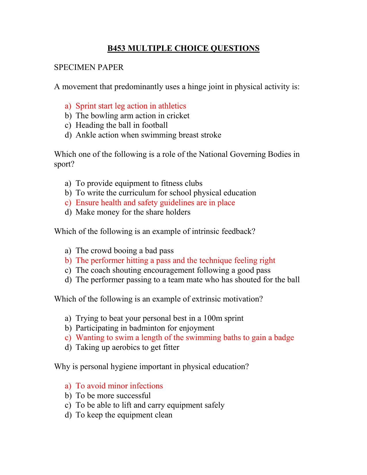 Multiple choice answers for B453