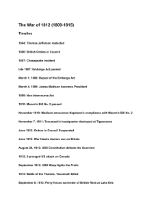 MICKNOTES- (12) The War of 1812 (1809-1815)