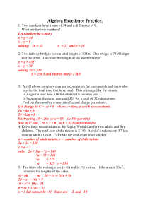 Some word problems SOLUTIONS - ALGEBRA-and