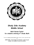Shady Side Academy Middle School Math Review Packet for