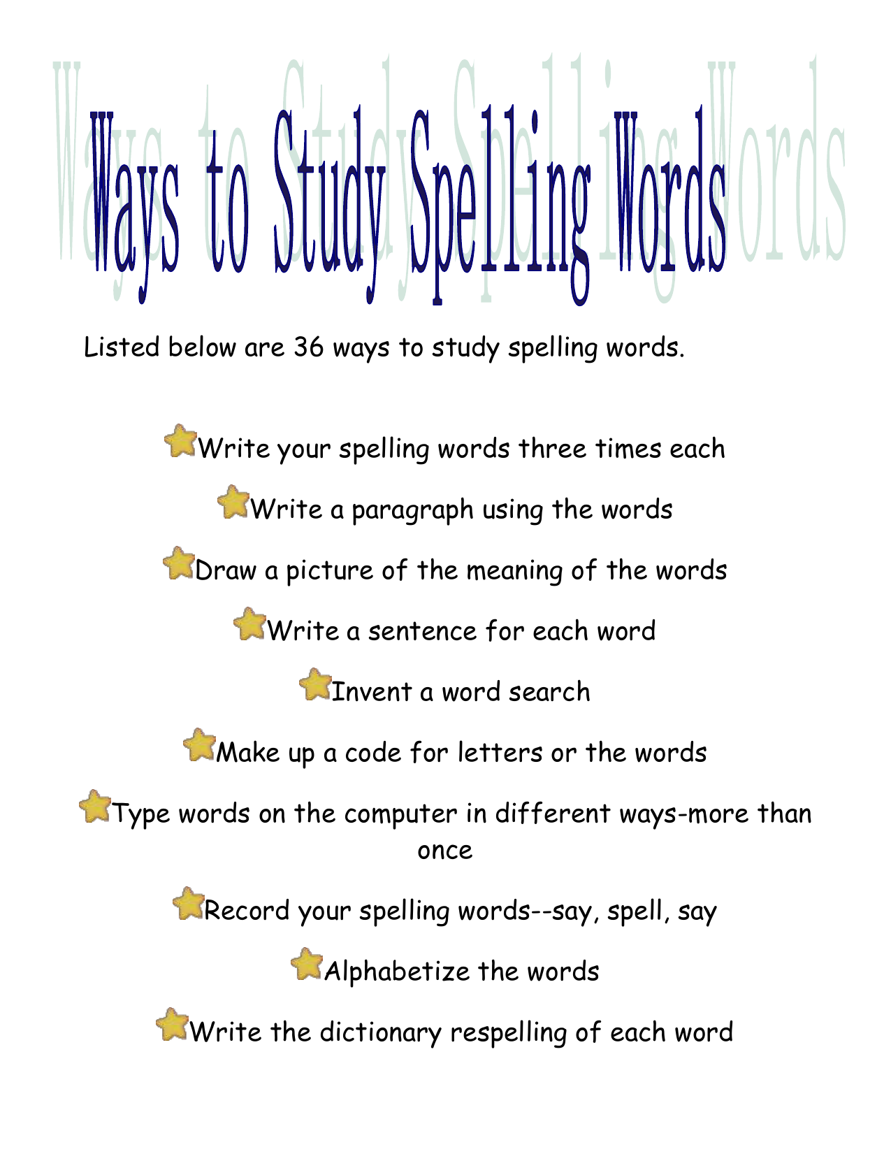 36 ways to practice spelling words