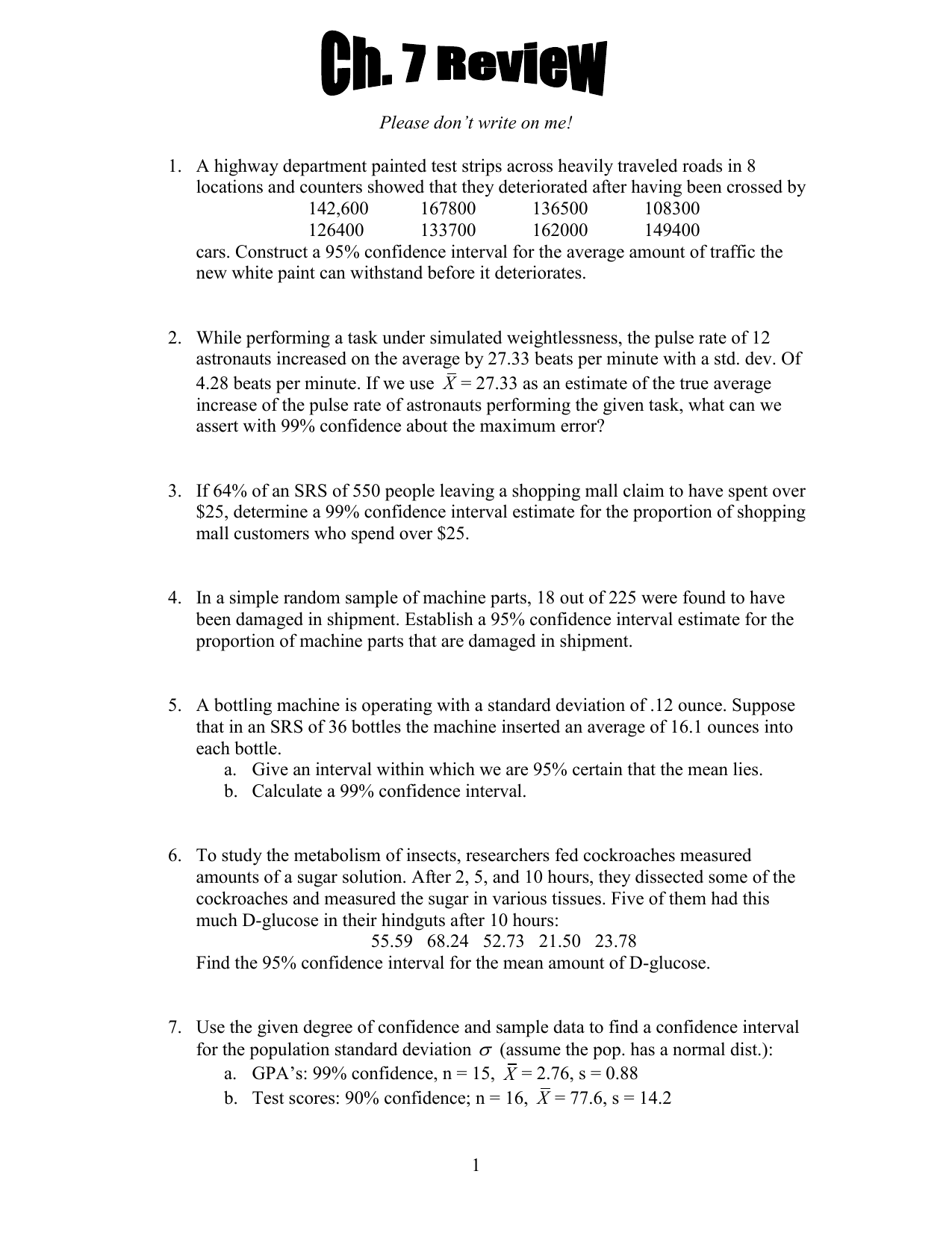 Chapter 7 Review Worksheet