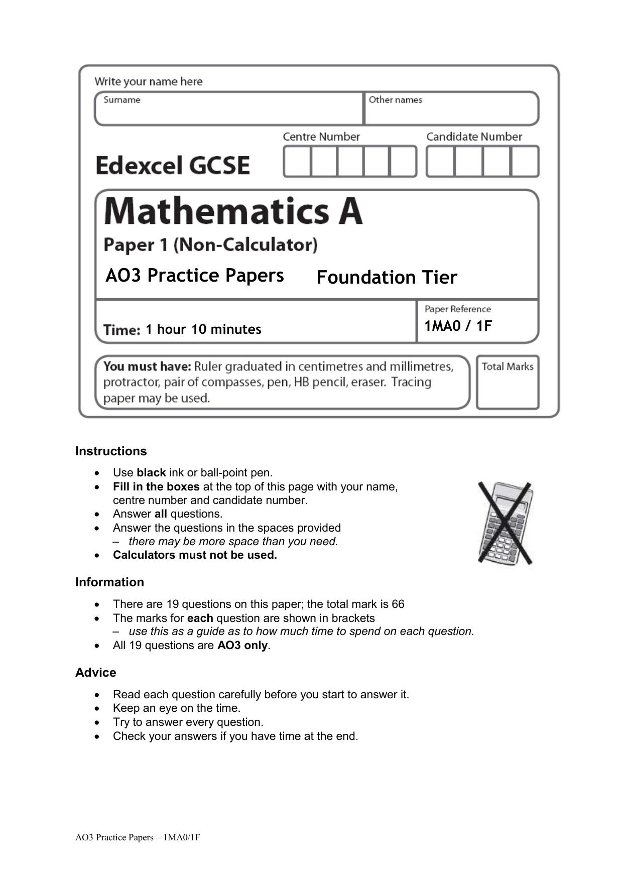 09 AO3 Practice Paper 1F Plus Mark Scheme