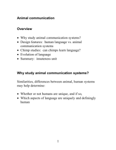 Design features of language, animal communication systems