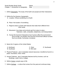 Intro to Geography Study Guide