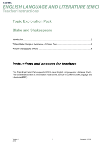 Blake and Shakespeare - Topic exploration - Teacher pack