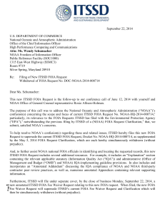 ITSSD – New NOAA FOIA Request (filed 9-22