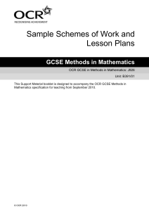 Unit B391/01 – Sample scheme of work and lesson plan