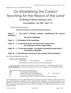 On Establishing the Correct Teaching for the Peace of the