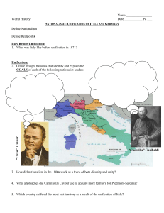 Nationalism—Unification of Italy and Germany